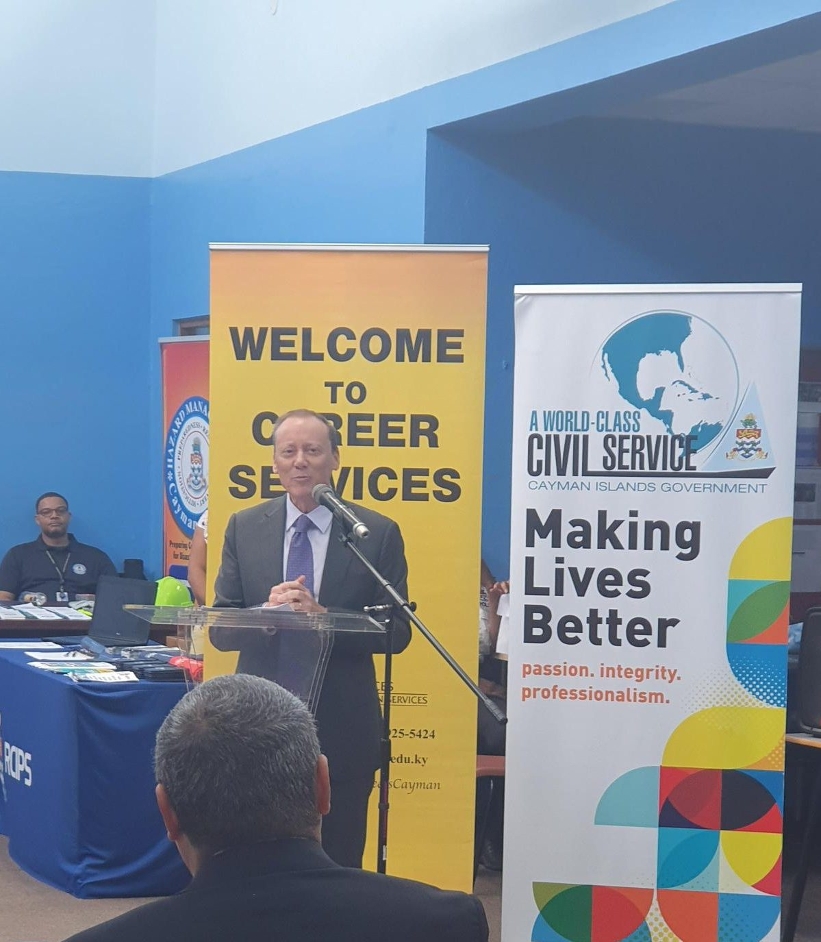 Governor Martyn Roper speaks during the CIFEC Career Fair earlier this year